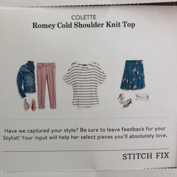 16fdbce42972a7 Colette Tops - NWOT Stitch Fix Colette Cold Shoulder Top - B W